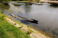 Photograph of a sunken canal barge by artist Rose Walker