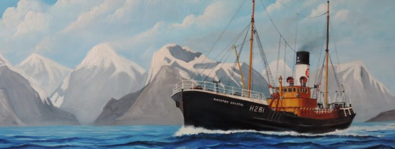 Painting of a boat at sea by artist Peter Hemmerman