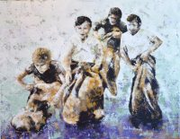 Painting of children competing in a sack race by artist Neil Hindhaugh