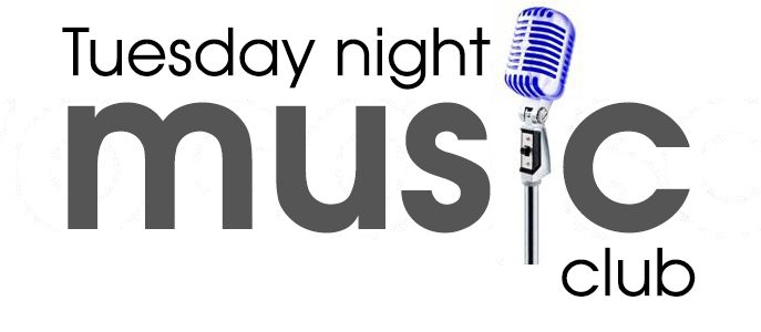 grey text on a white background reading Tuesday Night Music Club with a blue microphone in place of the letter i