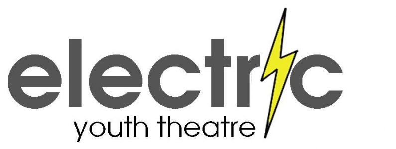 Grey text on a white background reading Electric Youth Theatre with a yellow lightning bolt in place if the letter i