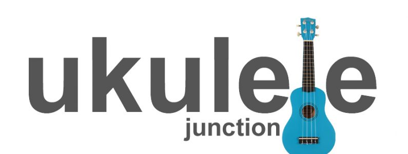 grey text on a white background reading Ukulele Junction with a blue ukulele in place of the letter l