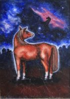 An embroidered image of a horse in front of a night sky