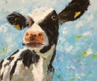A painting of a dairy cow against a blue background