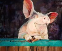 A painting of a pig against a brown background