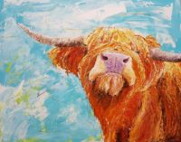 A painting of a highland cow against a blue background