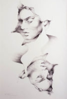 An abstract illustration of female faces mirrored