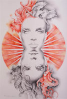 An abstract illustration of a female face mirrored