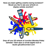 A white background with cartoon images of art materials, including paint brushes, pencils, scissors and crayons over a background of paint splatters in primary colours in the centre. The same text as the website body is overlaid.