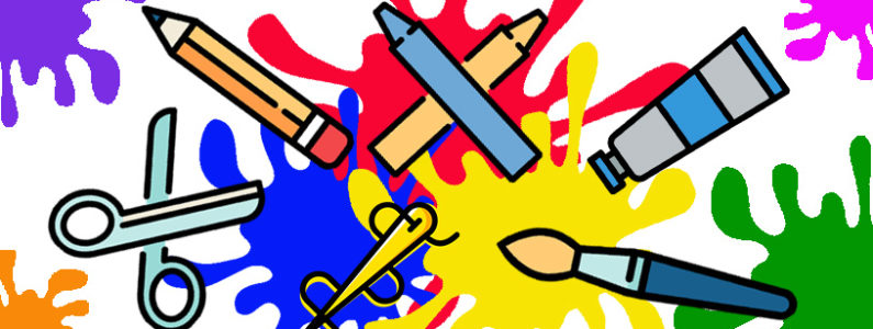 cartoon images of art materials, including paint brushes, pencils, scissors and crayons over a background of paint splatters in primary colours.