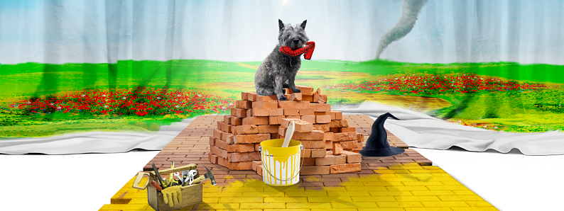 Images shows a grey dog (a Cairn Terrier) holding a ruby slipper in its mouth. The dog is sat on top of a pile of red bricks, some of which have been placed to form the 'yellow brick road'. Some of the bricks have been painted yellow and there's a can of paint and tool box on top of them. There's also a black witches hat. In the background a stage cloth depicts a poppy field with a tornado that has lifted a house against a blue sky.