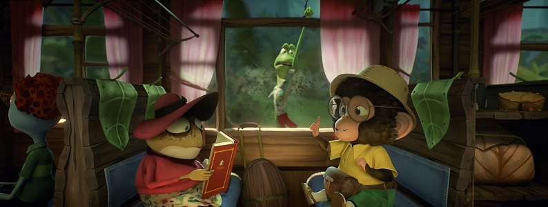 Still from animated movie. Passepartout (a marmoset) is sat in an old train carriage opposite a toad wearing a red hat, red jumper and flowery dress. The toad is reading a book. Between the two the train carriage window can be seen. On the other side of the window Phileas Frog (a frog) is holding on for dear life!